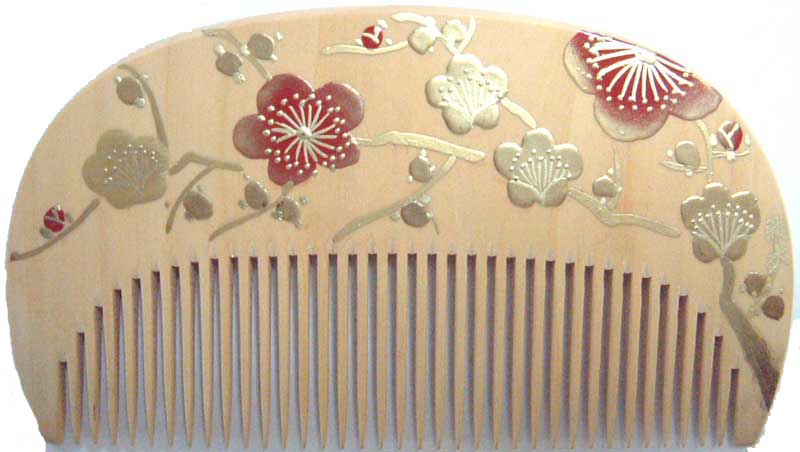 Painted boxwood comb -Ume-